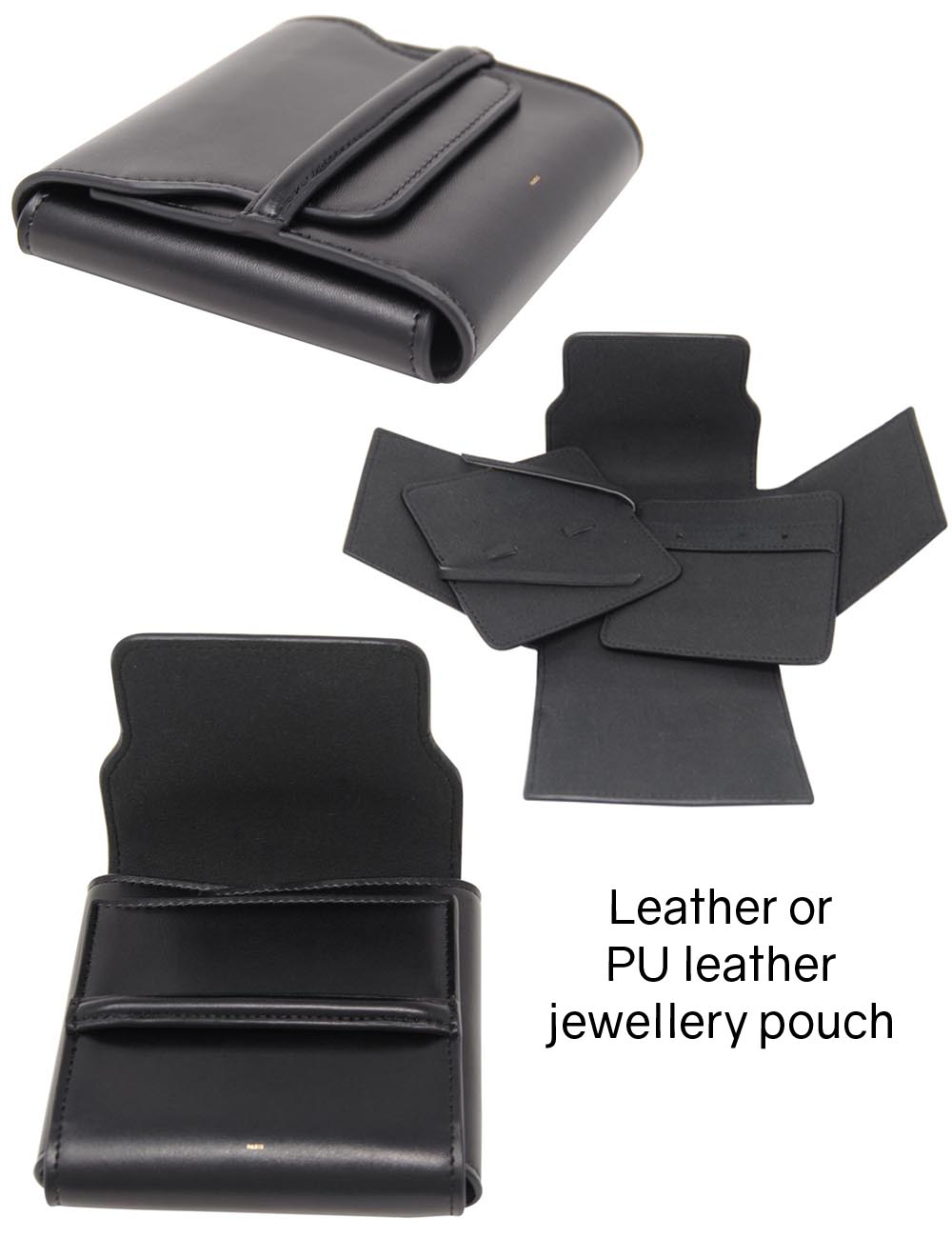 Leather or PU leather jewellery pouch
